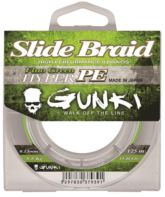Šňůra Gunki Slide Braid Fluo Green 125m