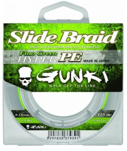 Šňůra Gunki Slide Braid Fluo Green 125m